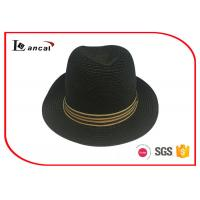 Buy cheap Printed Paper Straw Trilby Wide Brimmed Straw Hat , Black Straw Hat With Common Hatband from wholesalers