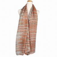 Buy cheap Scarf made of voile, solid color,stripe printed long scarf, fashion design & various use from wholesalers