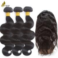 Buy cheap Pre - Colored Brazilian Hair Body Wave 3 Bundles With 360 Lace Frontal Closure from wholesalers