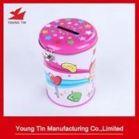 Buy cheap Full Color Printed Round Tin Money Box Metal Tinplate Material Lock Attached from wholesalers