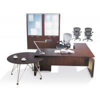China Toyat series L shape red cherry wood Manager office Desk with skirting board and three drawers mobile cabinet BS-6056MT on sale