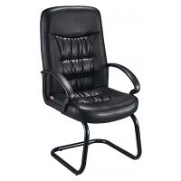 Buy cheap Comfy Non Swivel Desk Chair , Black Leather Meeting Room Chairs With Arms from wholesalers