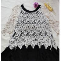 Buy cheap cotton lace top ladies cotton lace blouse short seelve crochet lace smock from wholesalers