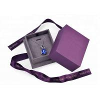 Buy cheap Purple Velvet Cardboard Jewelry Box With Necklace Hanger Window Paper Lid Luxury from wholesalers