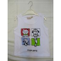 Buy cheap Sleeveless White Cotton Cartoon Pattern Graphic Tees for Girls, Cool Graphic Tee Shirts from wholesalers