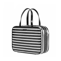Buy cheap Custom Wholesale Black White Stripe Makeup Cosmetic Bag With Zipper from wholesalers