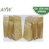Buy cheap 8 Side Sealed Zip Square Bottom Bag , Snack Kraft Paper Stand Up Pouch With Tin Tie from wholesalers
