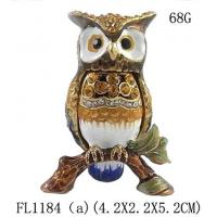 Buy cheap Fashion Metal Alloy Pewter Rhinestone Crystal Enamel Eagle Trinket Jewelry Box from wholesalers