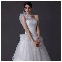 Buy cheap Luxury one shoulder Satin Long Train Wedding Dresses tulle skirt for Summer / Autumn from wholesalers