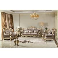 Buy cheap French style Luxury design of Living room Sofa sets 1+2+3  used Beech wood Carving and Import Italy Leather Furniture from wholesalers