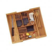 Buy cheap expandable bamboo silverware organizer with lid from wholesalers