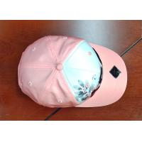 Buy cheap Silk Pink Curve Brim Sequin Baseball Caps Embroidery Logo / Trendy Dad Hats from wholesalers