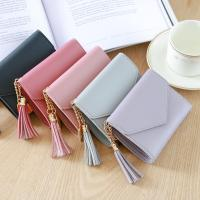 Buy cheap Fashion Small high quality Simple PU Leather women slim wallet id card bag ladies Tassels Pendant hand bag from wholesalers