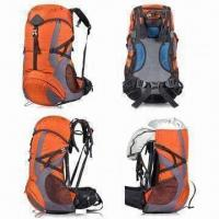 Buy cheap 65L Hiking Bag with Rain Cover and 210D Polyester Lining, Made of Five Ripstop Polyester from wholesalers