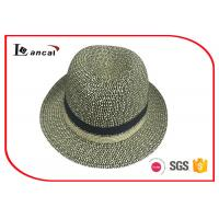 Buy cheap Mixed Color Straw Trilby Wide Brim Straw Sun Hat With Grossgrain Interband For Mens from wholesalers