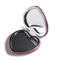 Buy cheap Pink Heart Shaped Double Sided Travel Mirror , Glitter Plastic Compact Mirror from wholesalers