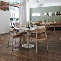 Buy cheap Customized Modern Restaurant Wooden Dining Room Chairs with back / Brown Fabric Seat from wholesalers