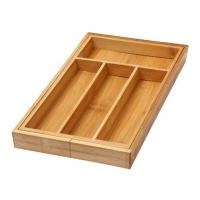 Buy cheap 4 Compartment Bamboo Kitchen Drawer Organizer For Storage Trays / Utensil Tray from wholesalers