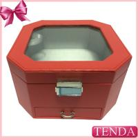 Buy cheap Red Metal Locking Thread Stitching Leather Jewel Jewellery Jewelry Storage Drawer Boxes from wholesalers