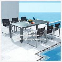 Buy cheap Fashion Outdoor Iron Furniture Dark Blue Tempered Glass from wholesalers