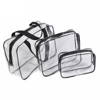 Buy cheap 3 PCS Custom Cosmetic Bags / Portable Waterproof Beauty PVC Clear Makeup Bags product