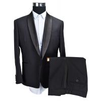 Buy cheap 2 Piece Mens Tuxedo Suit Shawl Lapel Wedding Black Viscose Polyester from wholesalers