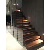 Quality Clear glass railing floating stair with anti slip slots on steps for sale