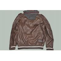 Buy cheap Plus Size, Big and Tall, Coffee and Fashion Western Casual Mens Leather Jacket with Hoodie product