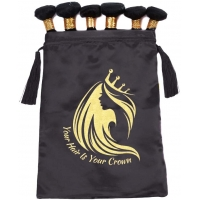 Buy cheap Luxury black satin wig bag with tassel and customized logo for hair extension packing from wholesalers