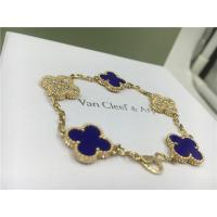 Buy cheap Vintage Alhambra Bracelet Luxury Diamond Jewelry 5 Motifs Yellow Gold Blue Ceramic product