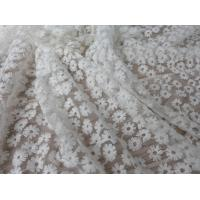 Buy cheap Daisy Small Flower Nylon Mesh Fabric By The Yard , Off White Lace Fabric For Dresses product