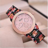 Buy cheap Gold Geneva Rose Flower Watch Japan Movement / Geneva Platinum Ladies Watch from wholesalers