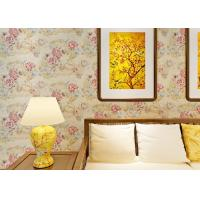 Buy cheap 0.53*10M Contemporary Bedroom Wallpaper With Light Yellow Floral Pattern , Heat Insulation from wholesalers