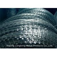Buy cheap 500mm Barbed Wire Price Per Roll , Concertina Razor Coil With 3 Clips from wholesalers