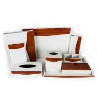 Buy cheap Luxury Hotel white PU leather with wooden finished plexglas square tissue box cover holder from wholesalers