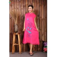 Buy cheap Pink Chinese Embroidery Dress , L XL XXL Cotton Sleeveless Maxi Dress from wholesalers