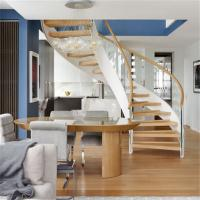 Buy cheap Hot Sale Curved Double Beam Stairs Wooden Steps with Curve Design Staircase from wholesalers
