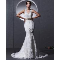 Buy cheap Lace Deep V open back Halter Neck Wedding Dresses mermaid Slim Wedding Gowns from wholesalers