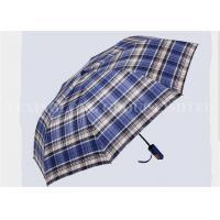 Fabric Folding Uv Protection Umbrella , Ladies Telescopic Umbrellas Blue Checks Patterns