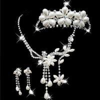 Buy cheap Fashion handmade Earrings Crown Bride Wedding Accessories Pearls Necklace from wholesalers