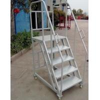 Buy cheap 2.5m 3m 4m Warehouse Steel Safety Rolling Mobile Platform Ladder with Handrails from wholesalers