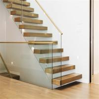 Buy cheap Indoor floating stairs design portable steel timber steps straight stairs for sale from wholesalers