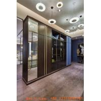 Buy cheap Custom made wardrobe closet built in cabinets open door Armoire with Mirror stand by Metal handle for hotel and villa from wholesalers