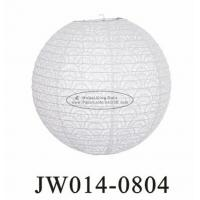 Buy cheap White Round Eyelet Paper Lanterns 10 Inch 12 Inch 14 Inch With Flowers Patterns from wholesalers