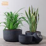 Buy cheap Set 4 Piece Round Shape Pot Planters Garden Plant Pot Clay Flower Pots Lightweight Pots Resin Planters Gray Color from wholesalers