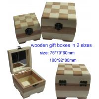 Buy cheap Delicate Rectangle Wooden Gift Boxes , Small Solid Wood Jewelry Box With Mirror from wholesalers