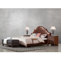 Buy cheap American leisure style Split Leather Upholstered Headboard Kind Bed with Wooden from wholesalers