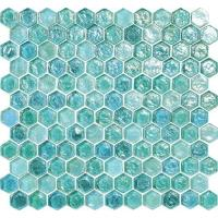 Buy cheap Green blue water waving glass mosaic tile hexagon for your garden from wholesalers