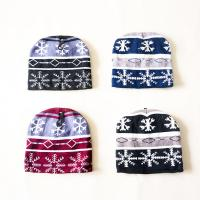 Buy cheap Deluxe simple winter striped snowflake pattern Knitted Beanies hats knitting crochet cap for teenagers kids from wholesalers