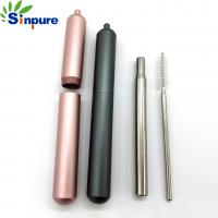 China Telescopic straw Painted Different color stainless steel folding drinking straw on sale